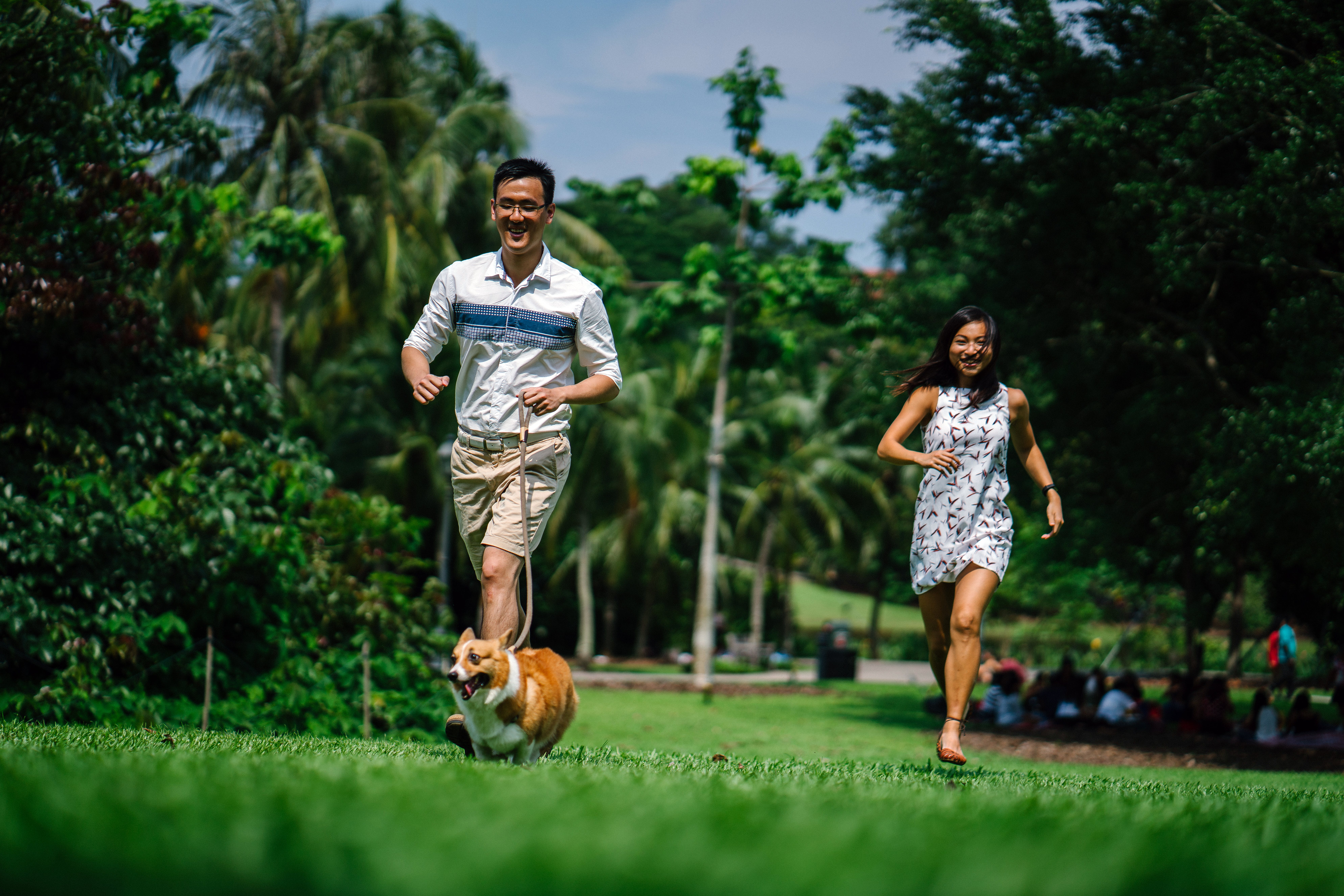 Man and Woman Running Near Green Leaf Trees Photo