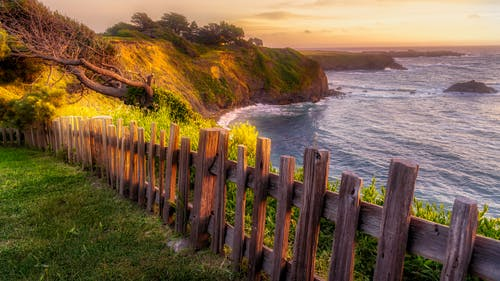 Free stock photo of fence, ocean, sunset