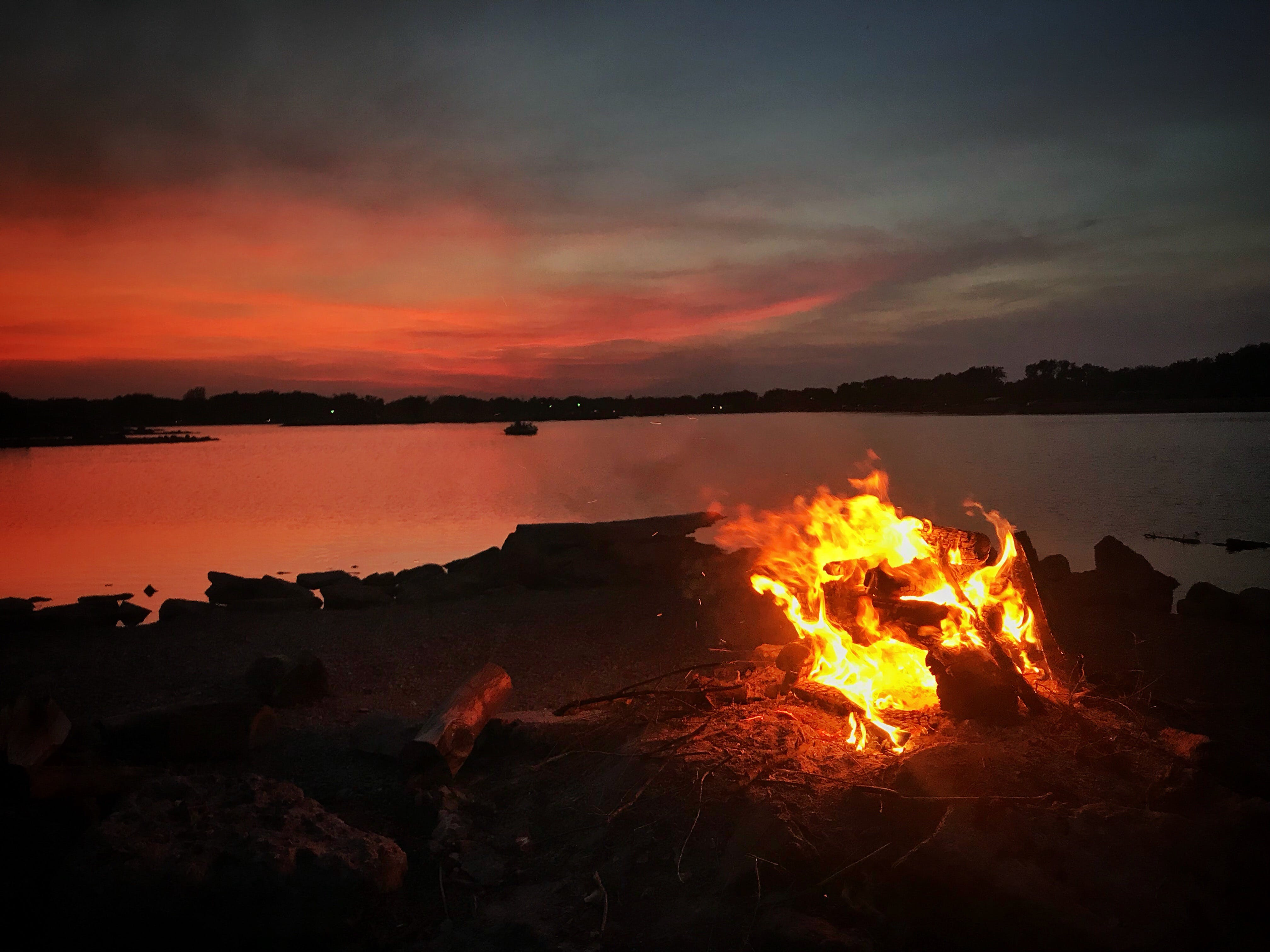 Free stock photo of feel good, fire, lake, light