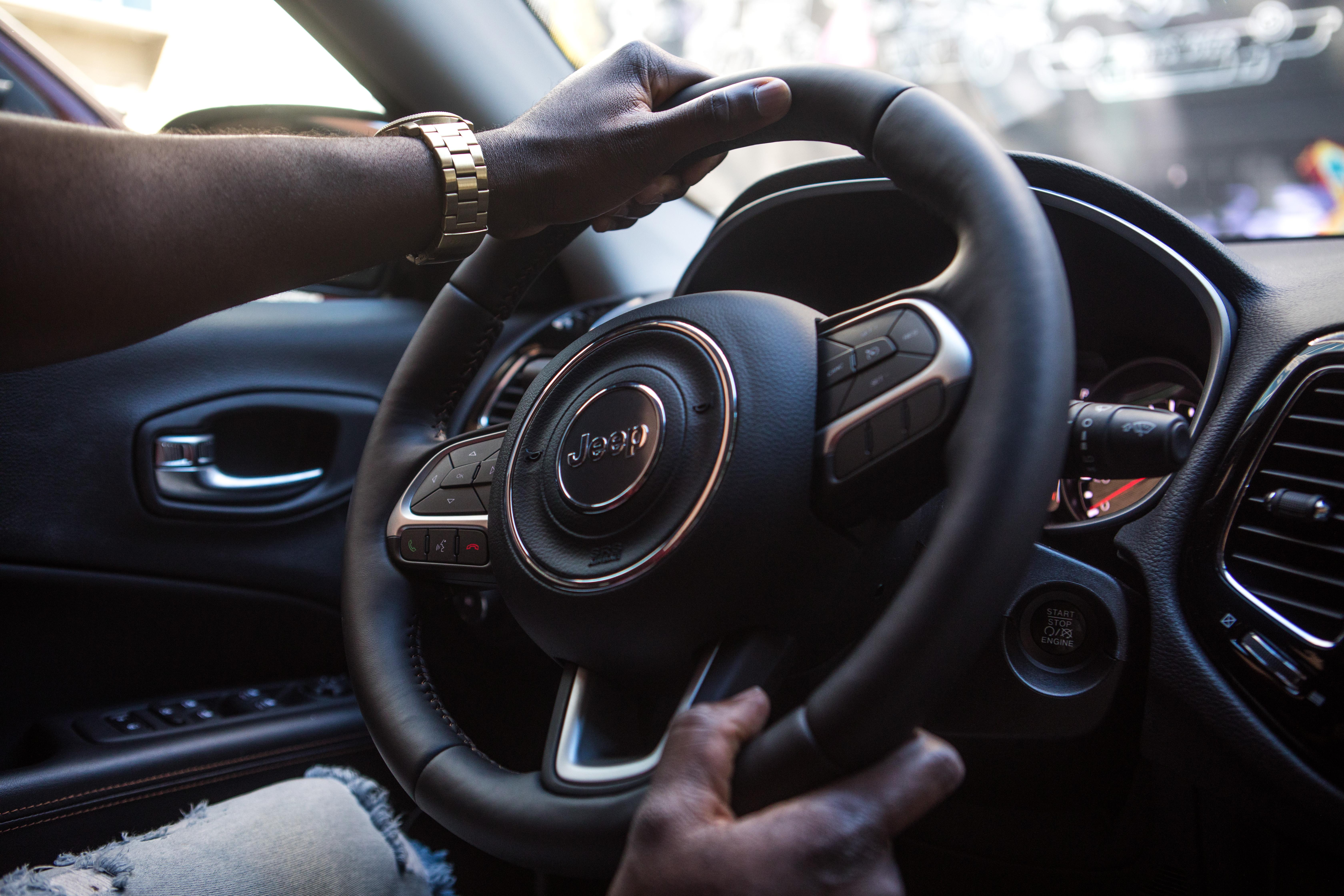 Black Jeep Vehicle Steering Wheel