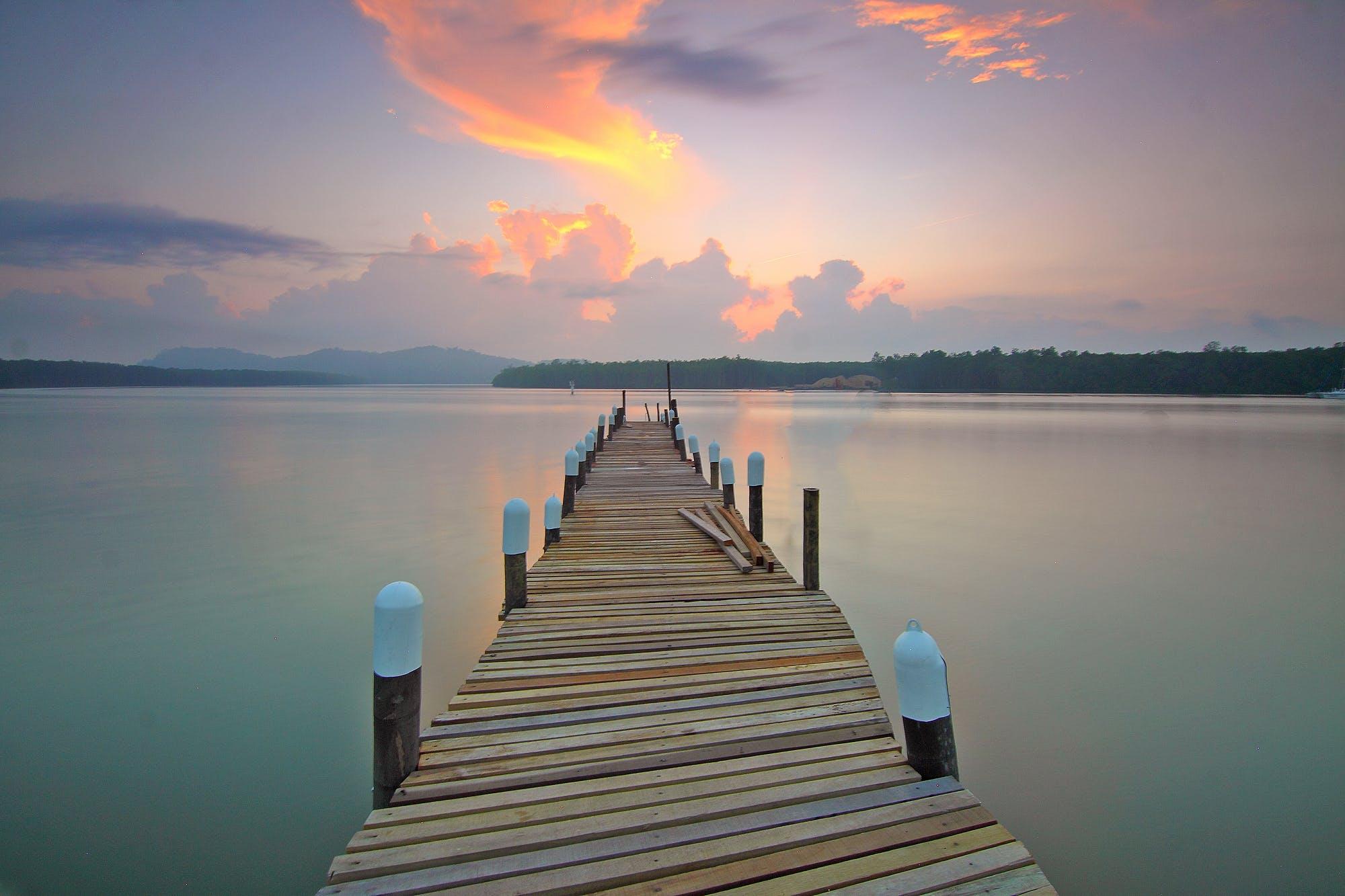 Ilmainen kuvapankkikuva tunnisteilla aamu, auringonlasku, laituri, luonto
