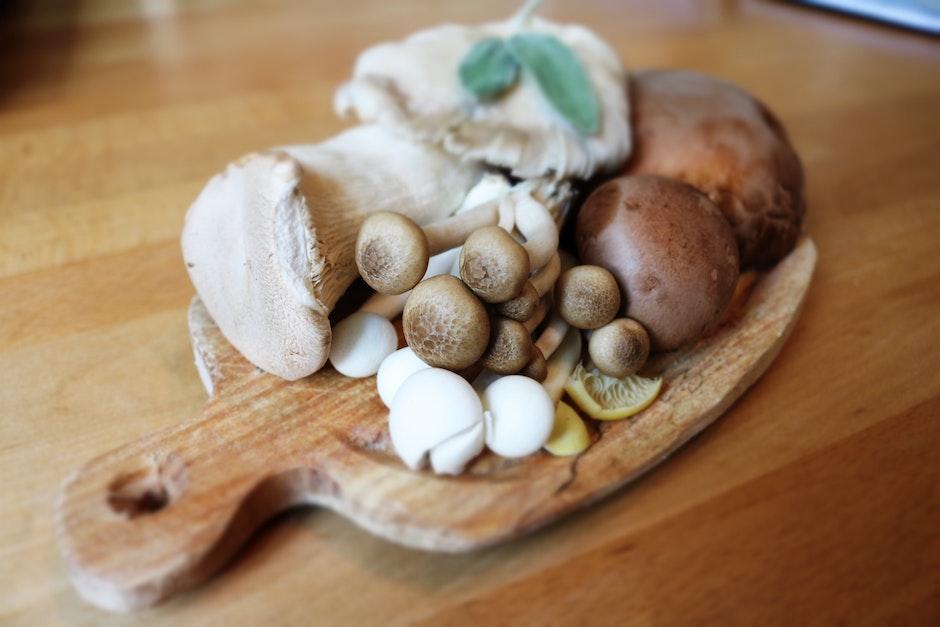 Mushroom on Brown Wooden Plate