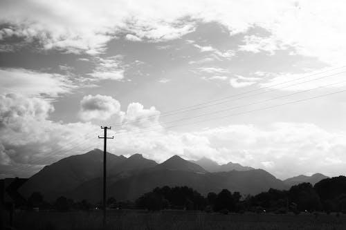 블랙 앤 화이트, 산, 하늘의 무료 스톡 사진