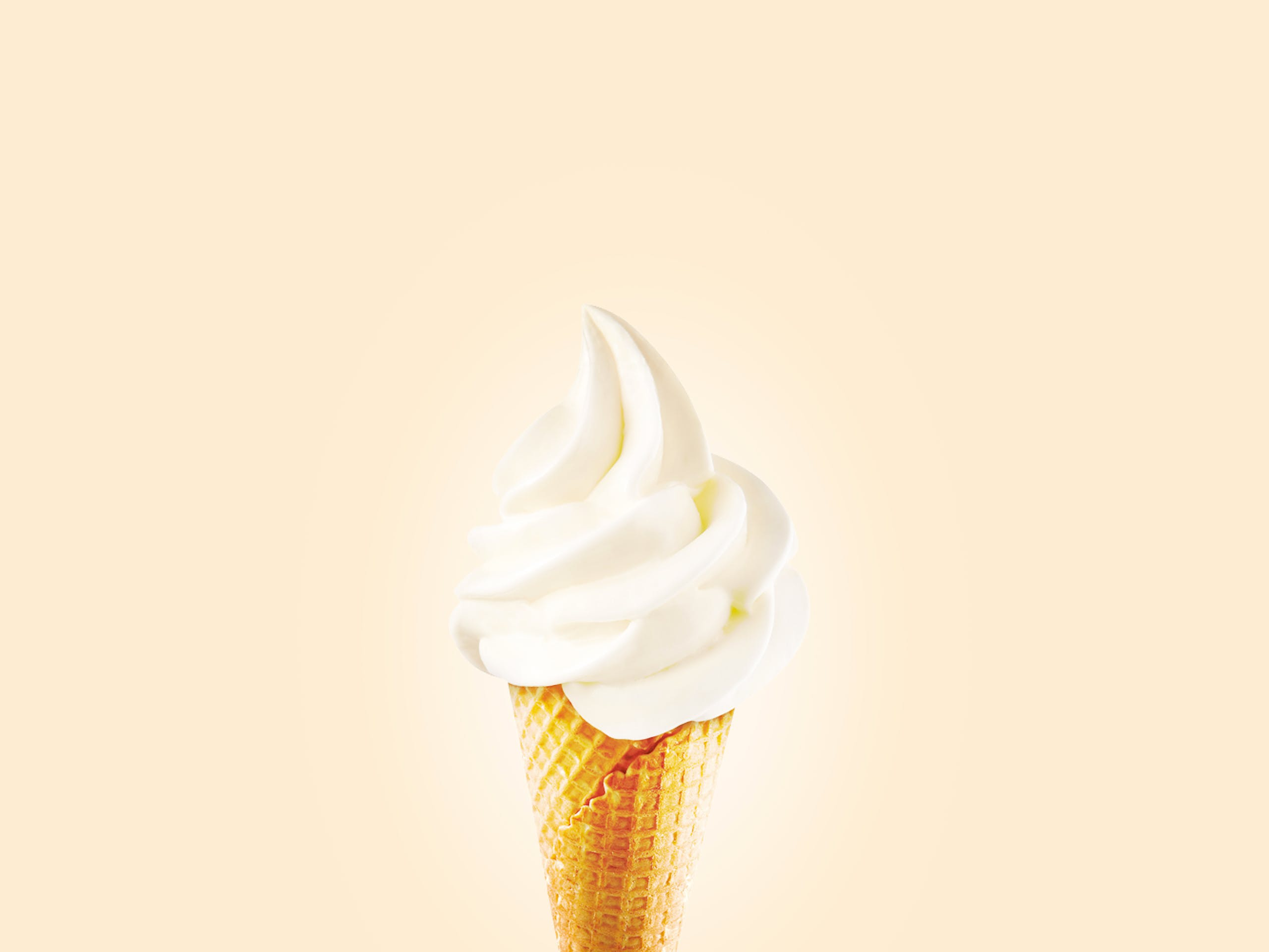 Cream Ice Cream in Cone