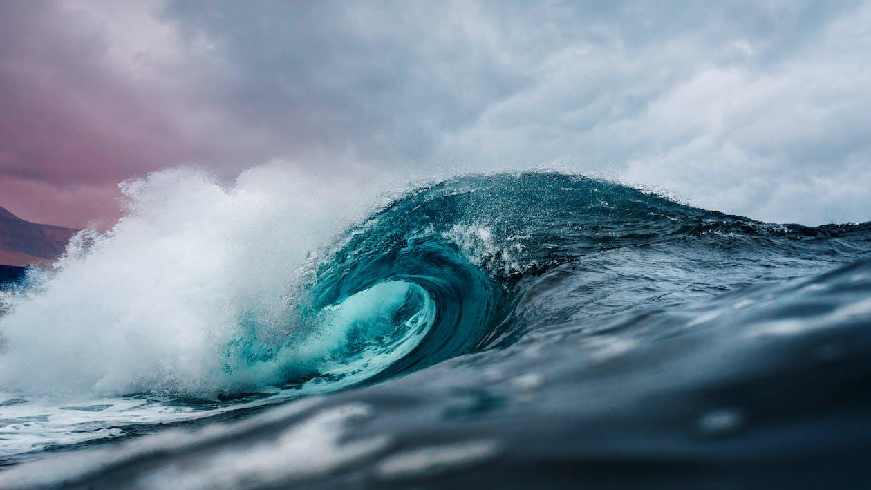 bevægelse, blå, bølge