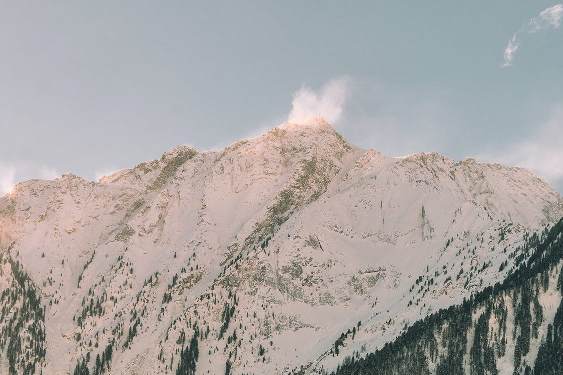 Mountain Coated by Snow Landscape Photography