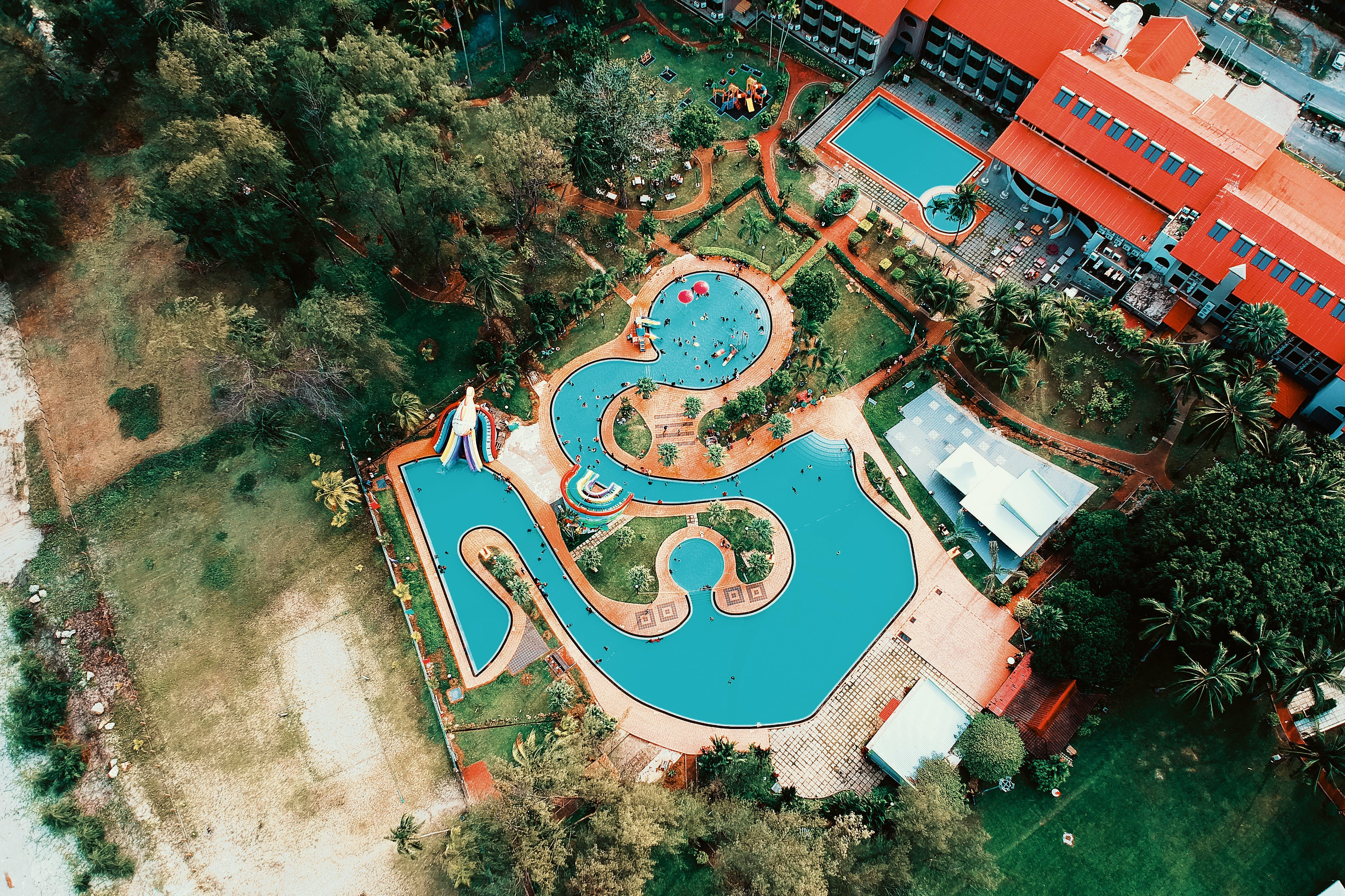 Birds Eye View of Water Pool and Building