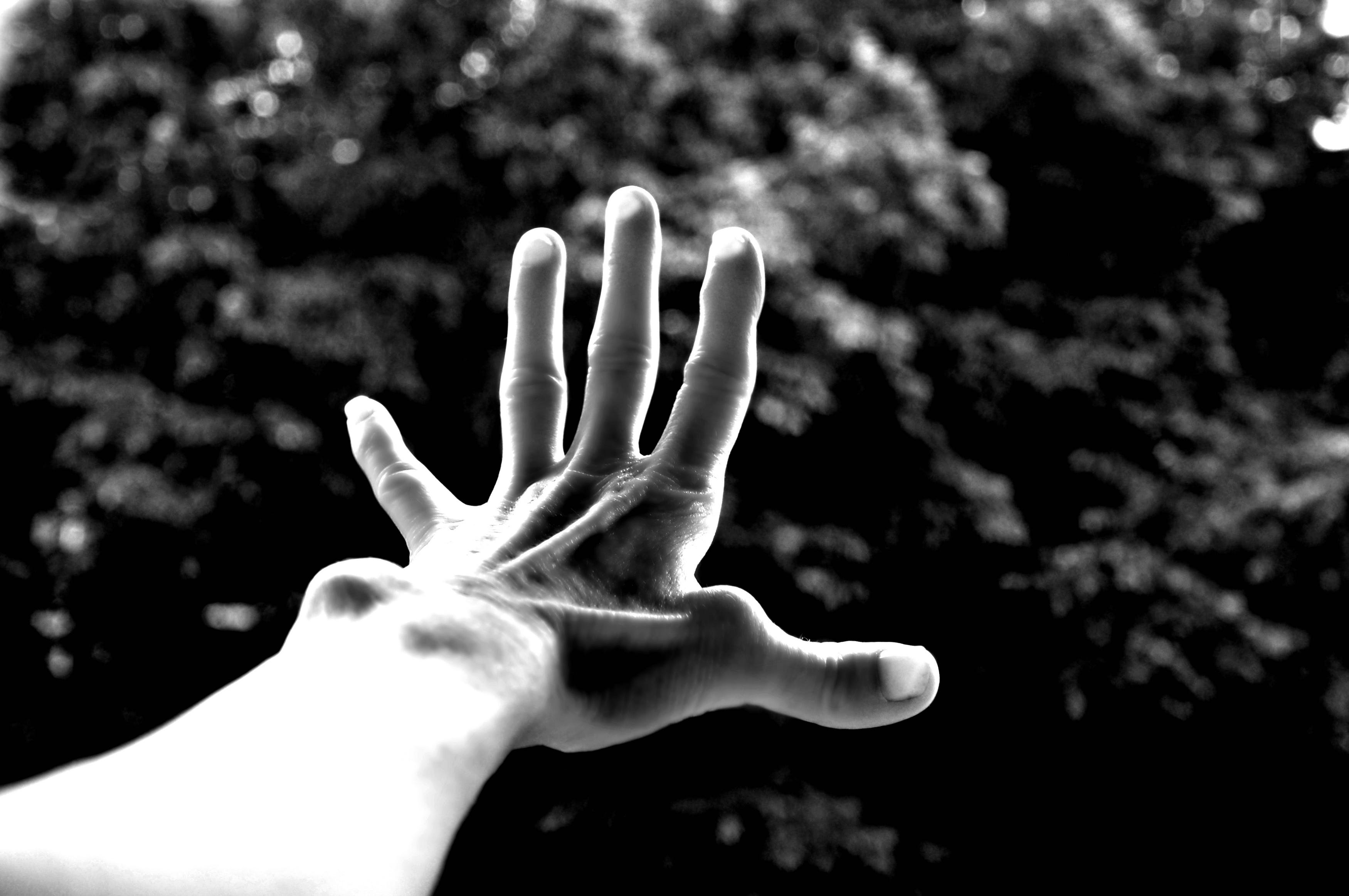 Free stock photo of black-and-white, arm, hand, monochrome