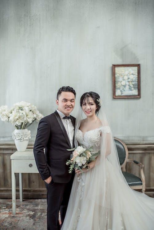 가운, 결혼, 꽃