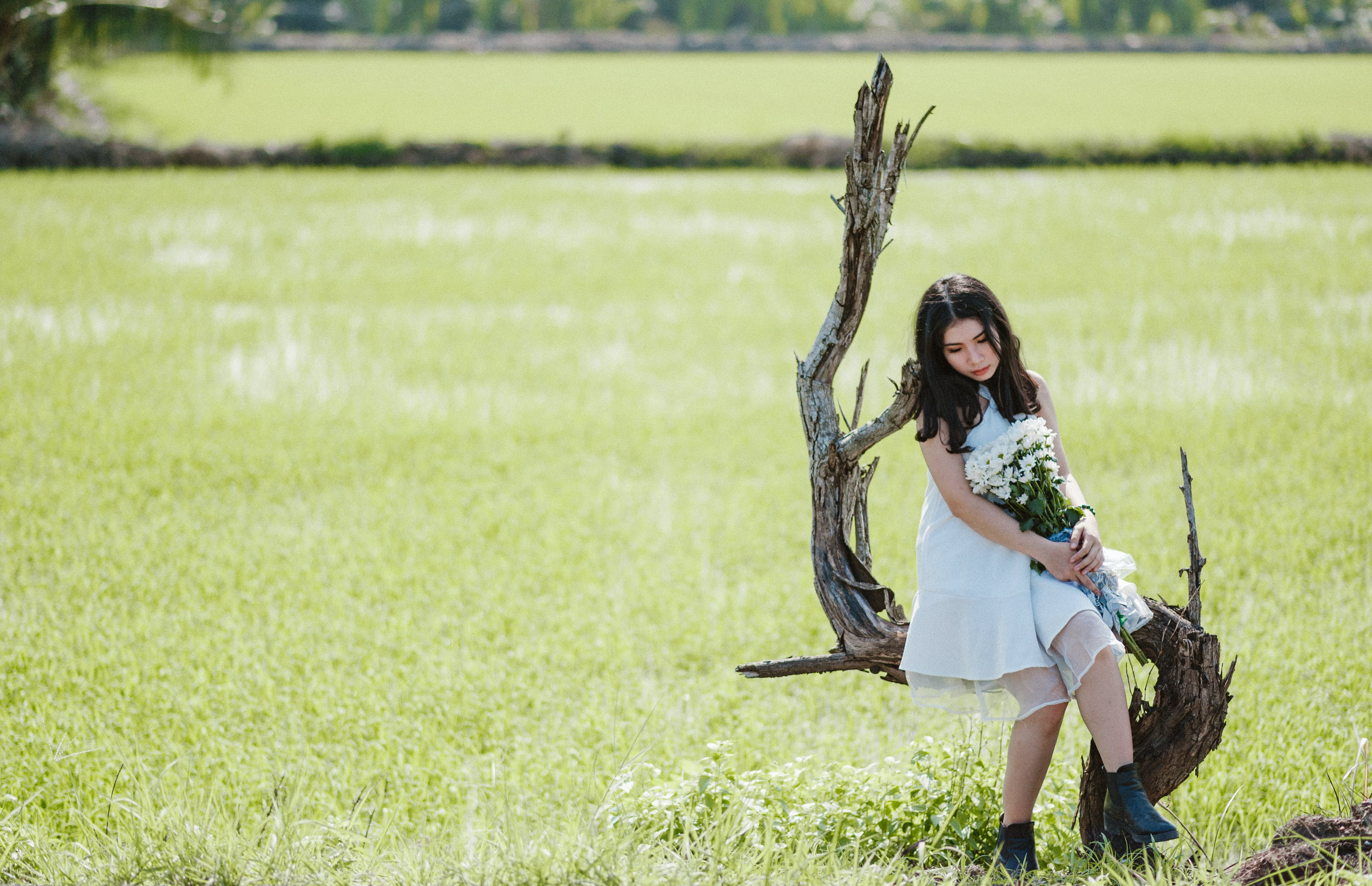 Woman Carrying White Flower Bouquet Sitting on Leafless Tree
