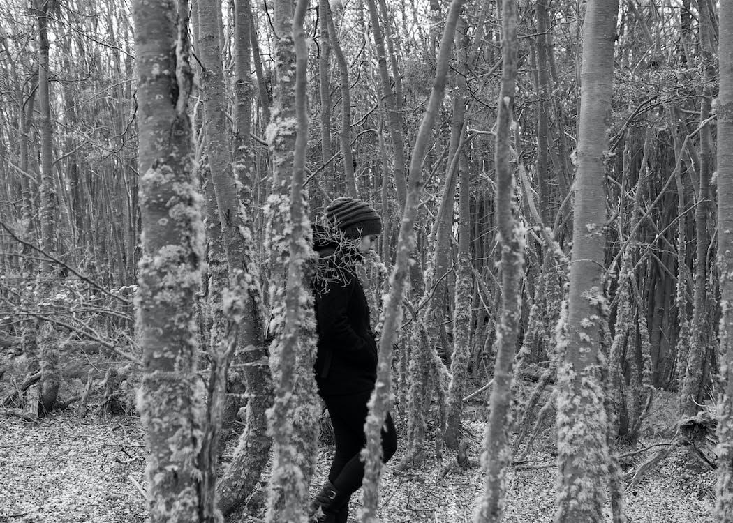 ασπρόμαυρο, γυναίκα, δάσος
