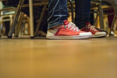 Free stock photo of feet, floor, red