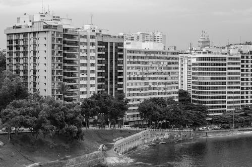 Free stock photo of apartment, black and white, building
