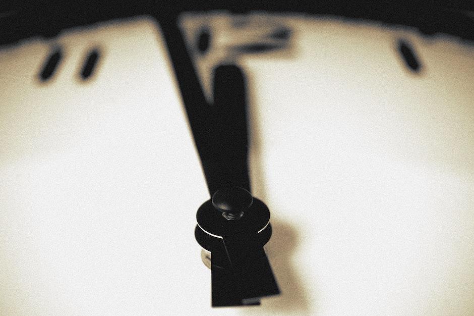 black-and-white, blur, clock
