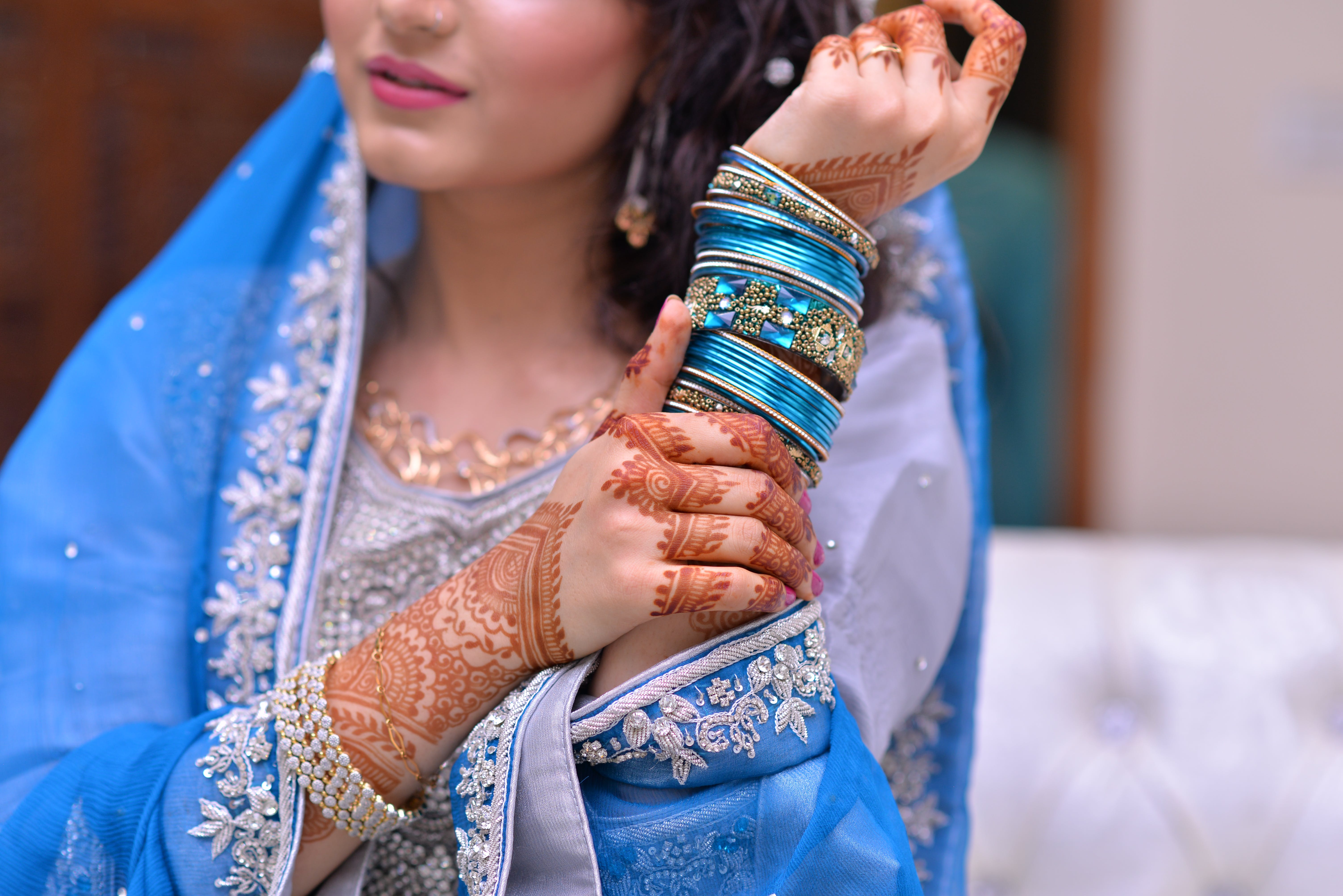 Woman Wearing Blue Traditional Indian Dress and Silk Thread Bangles