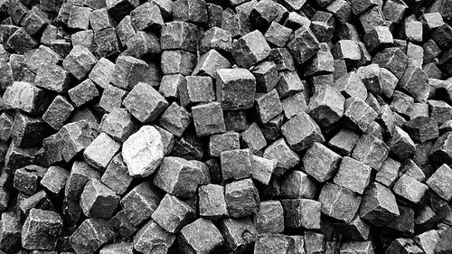Free stock photo of black-and-white photography, blocks, brick, building material