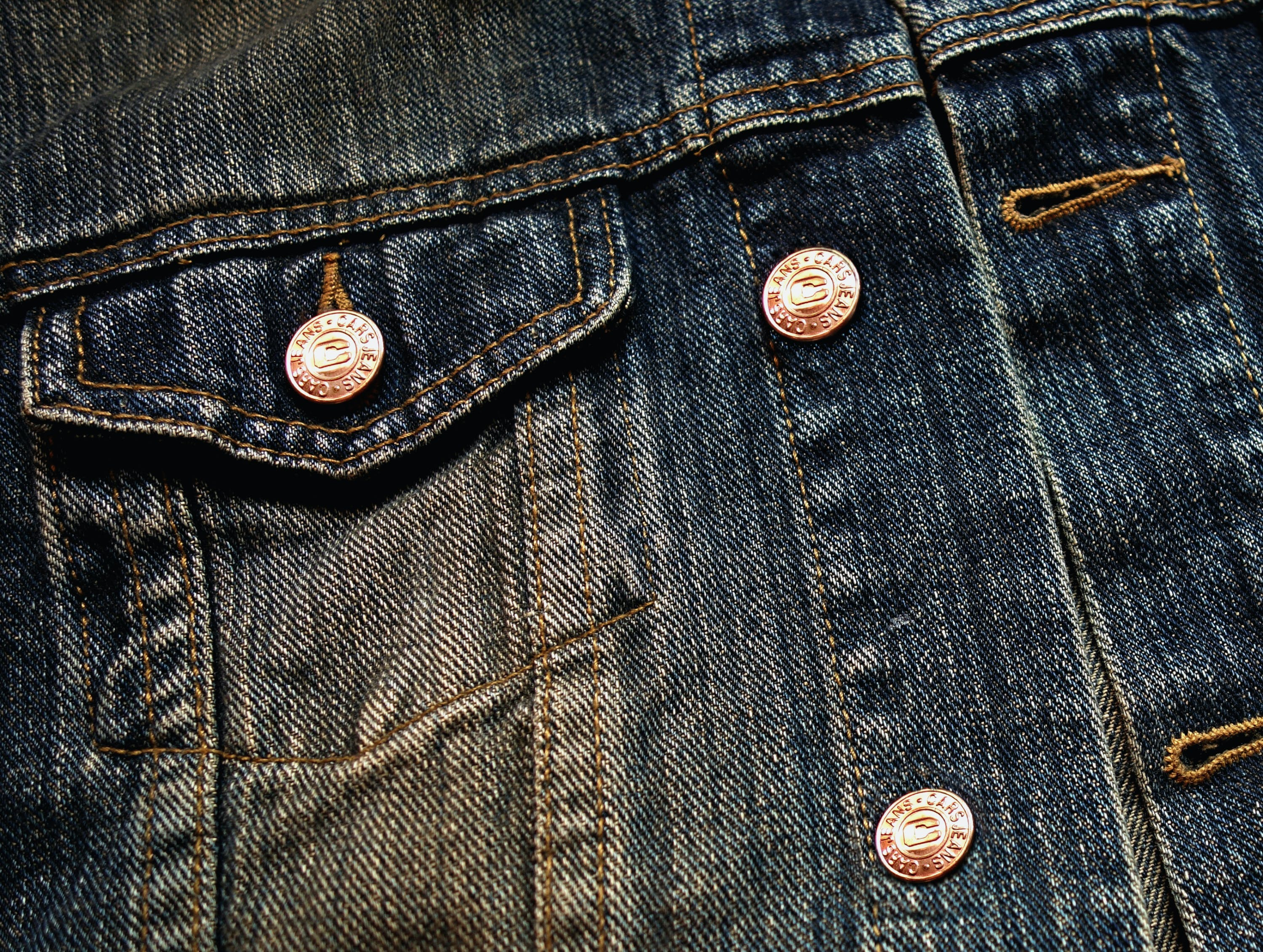 of breast pocket, button, button hole, denim