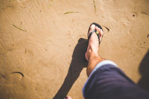 Foto profissional grátis de adulto, areia, beira-mar, chinelo