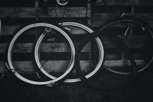 Free stock photo of bicycle tires, black and white, tires