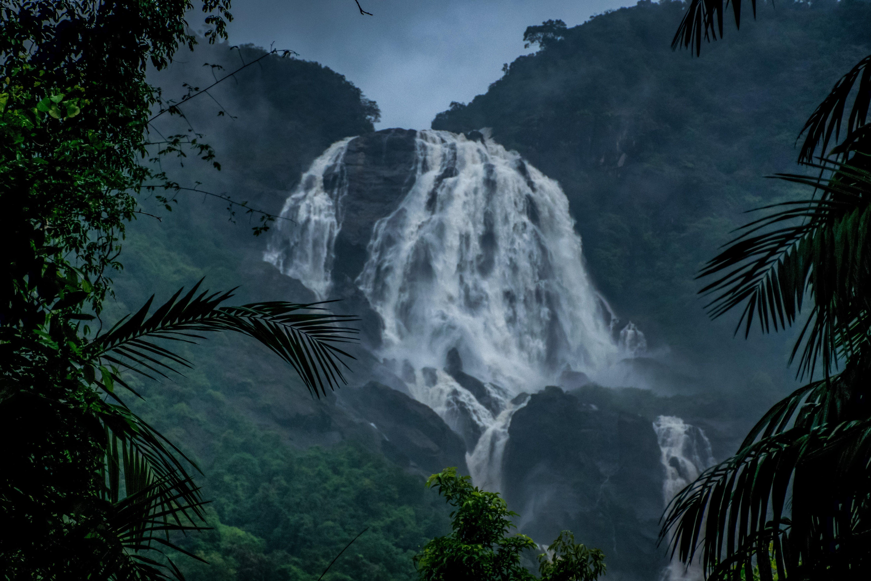 Photo of Waterfall Under Dark Sky