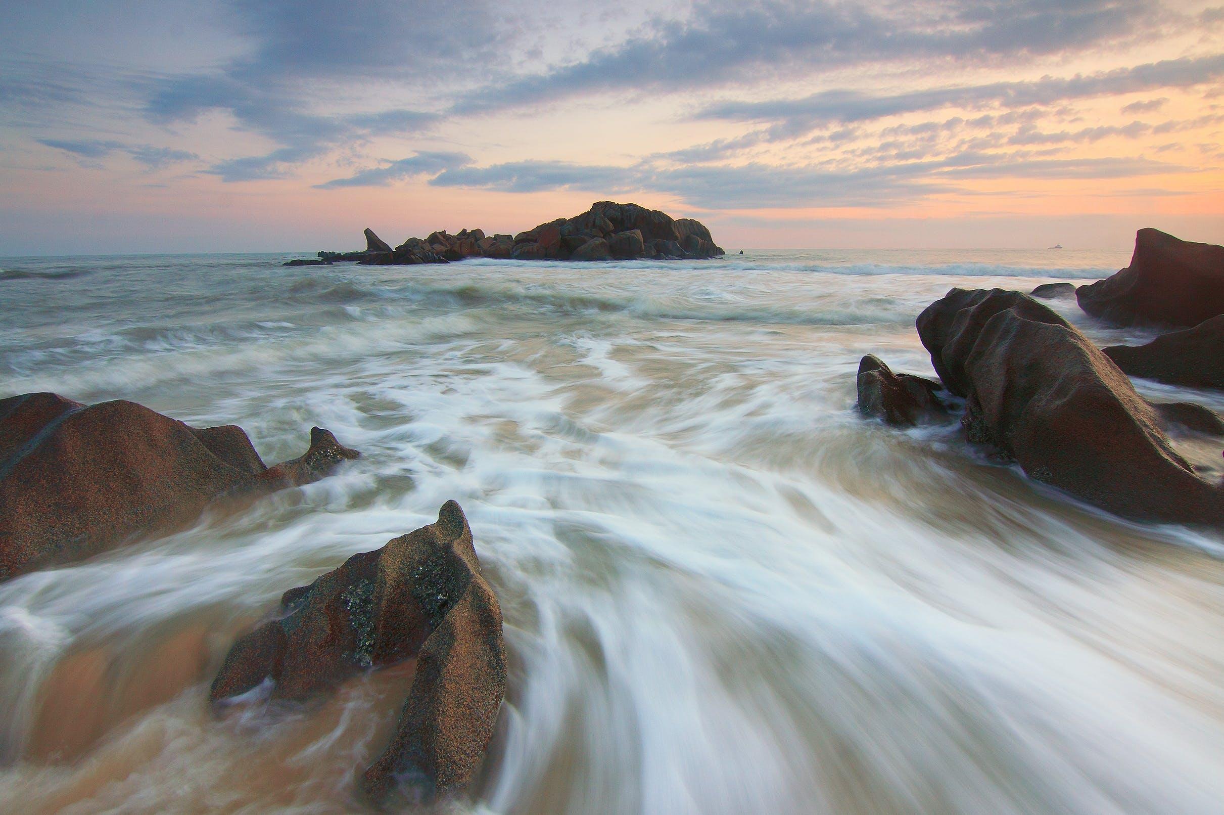คลังภาพถ่ายฟรี ของ ชายหาด, ตะวันลับฟ้า, ทราย, ทะเล