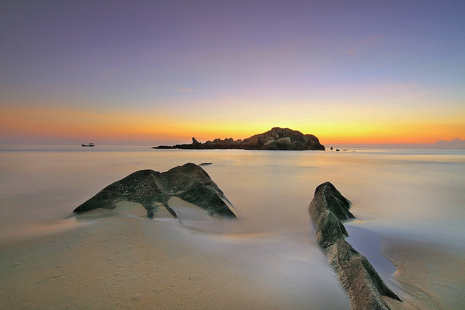 Photo of an Island during Sunset