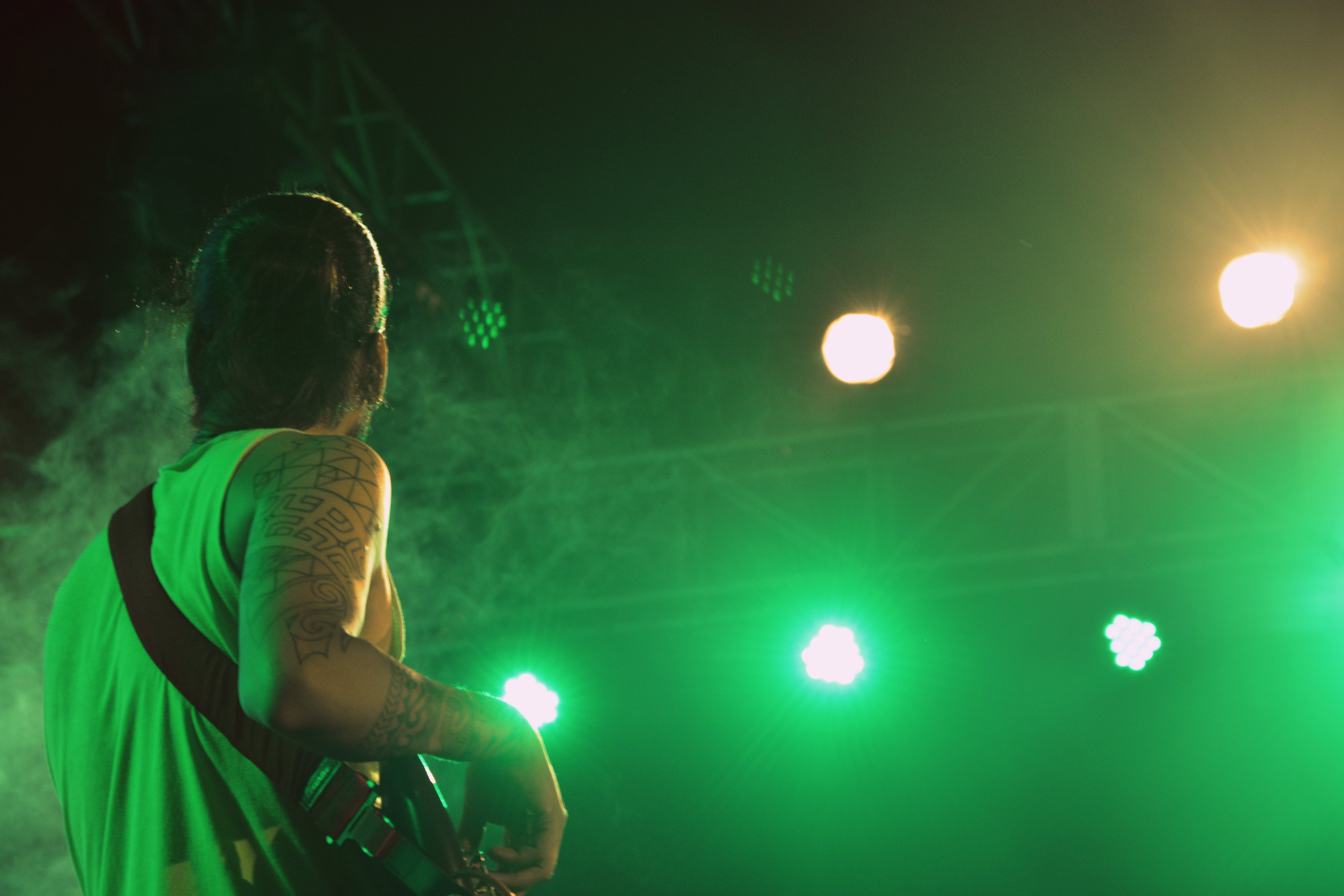 Free stock photo of green, guitar, live on stage, spotlights