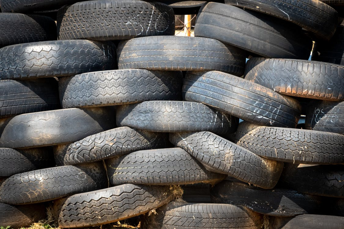 Stacked Vehicle Tire Lot