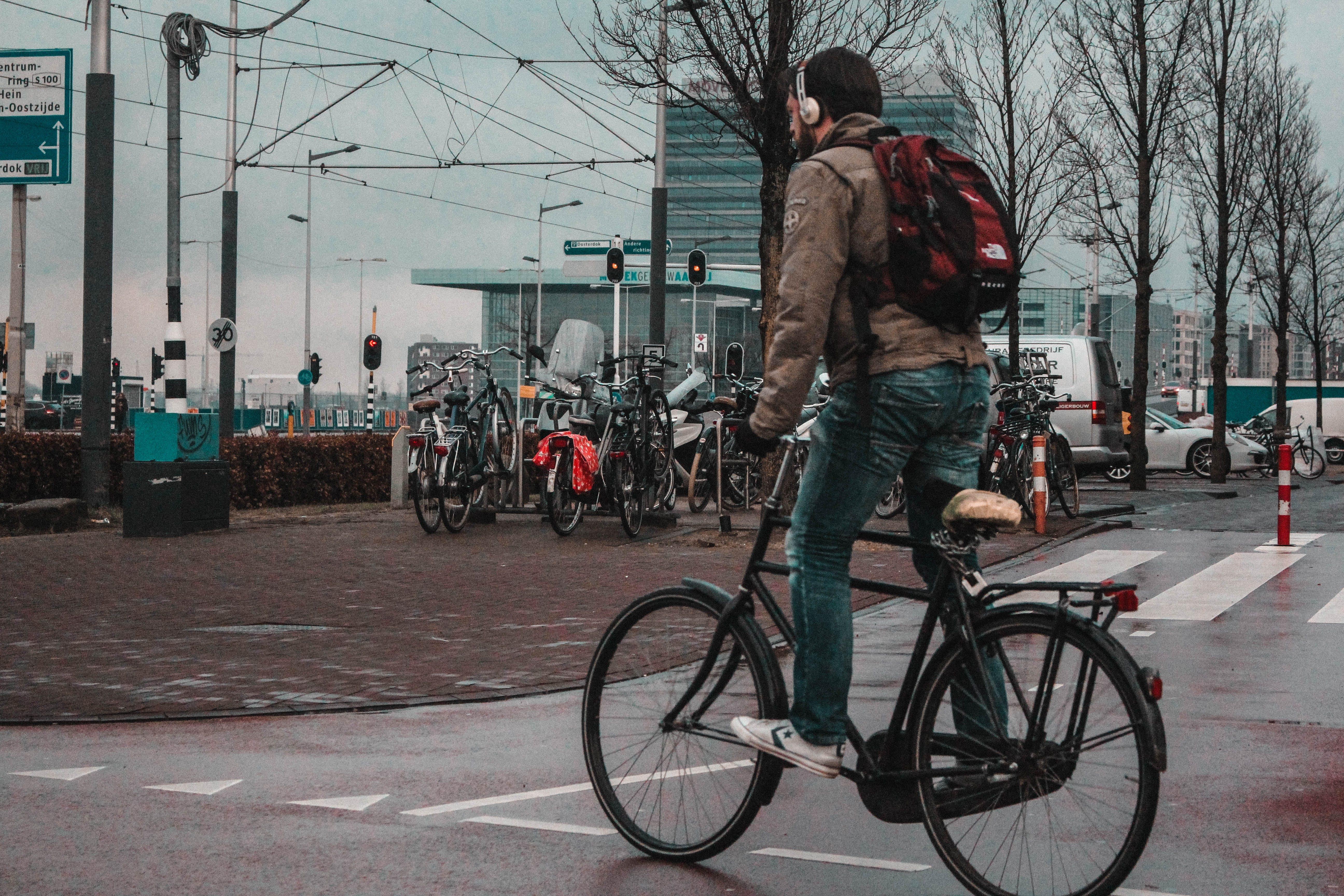 Free stock photo of amsterdam, bicycle, man, sky