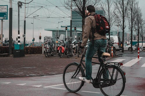 Free stock photo of amsterdam, bicycle, man, sky
