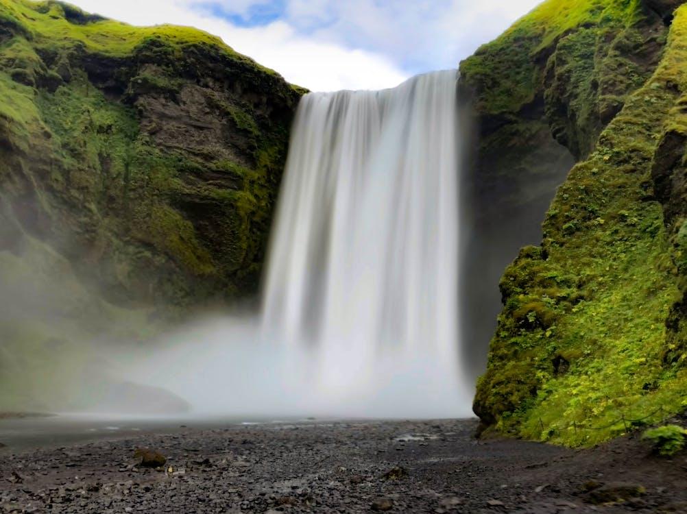 вода, водопад, гора