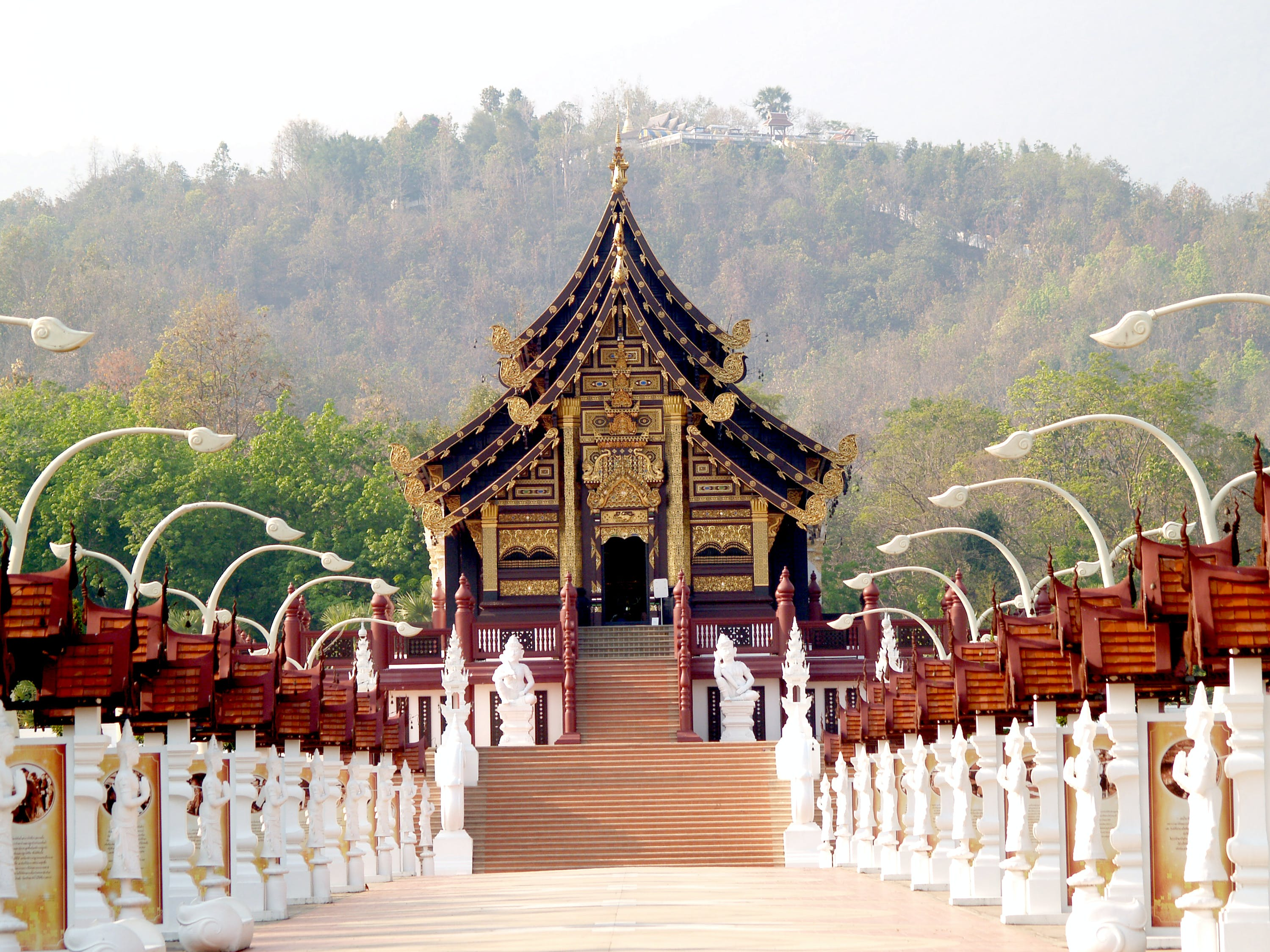 Black Temple With Forest Background