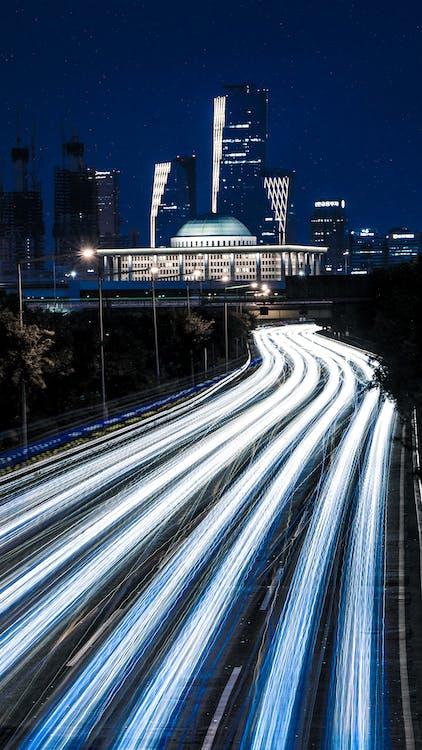 architektura, autostrada, budynki