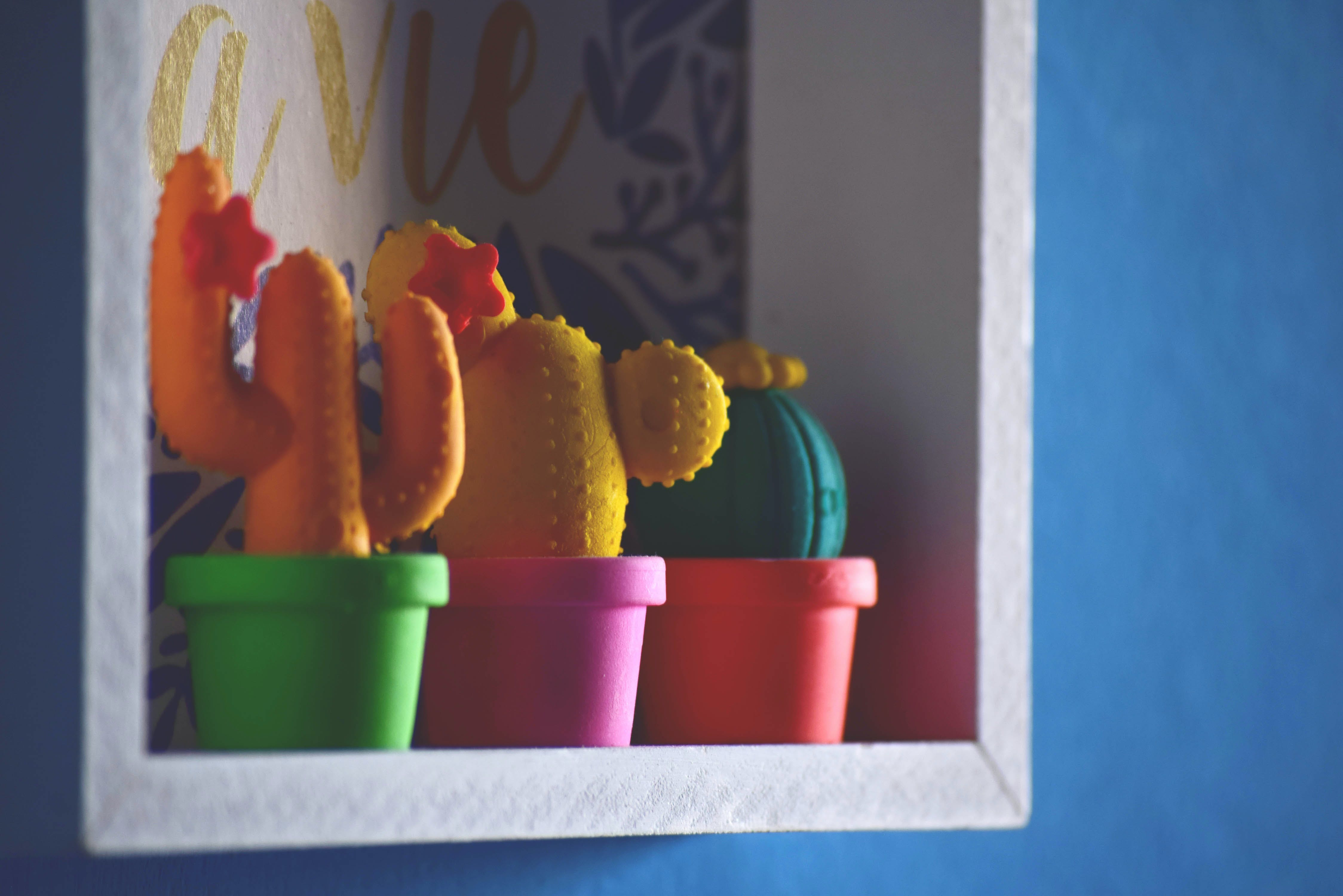 Three Assorted Coloured Cactus Plant Toys