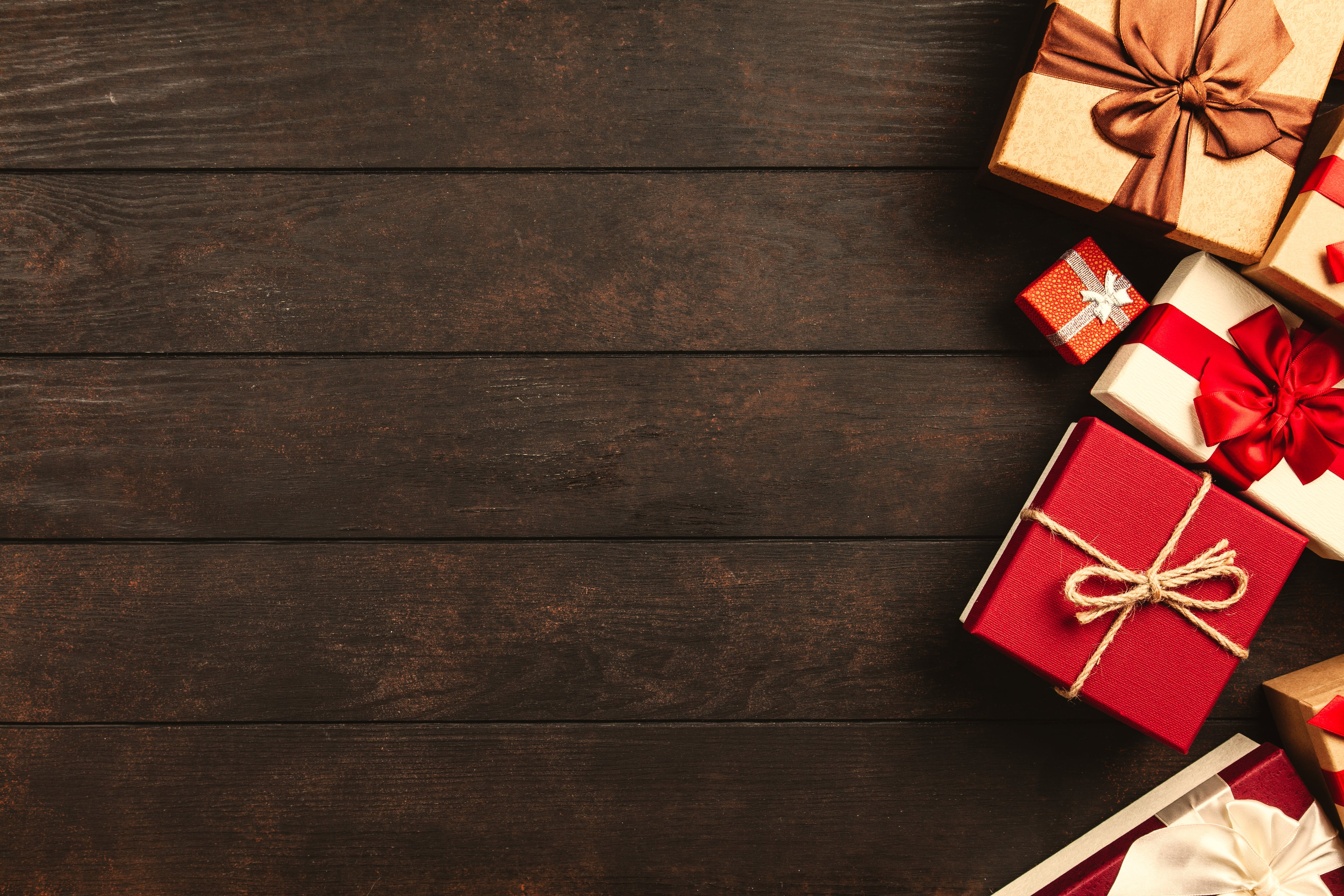 Red, White, and Brown Gift Boxes