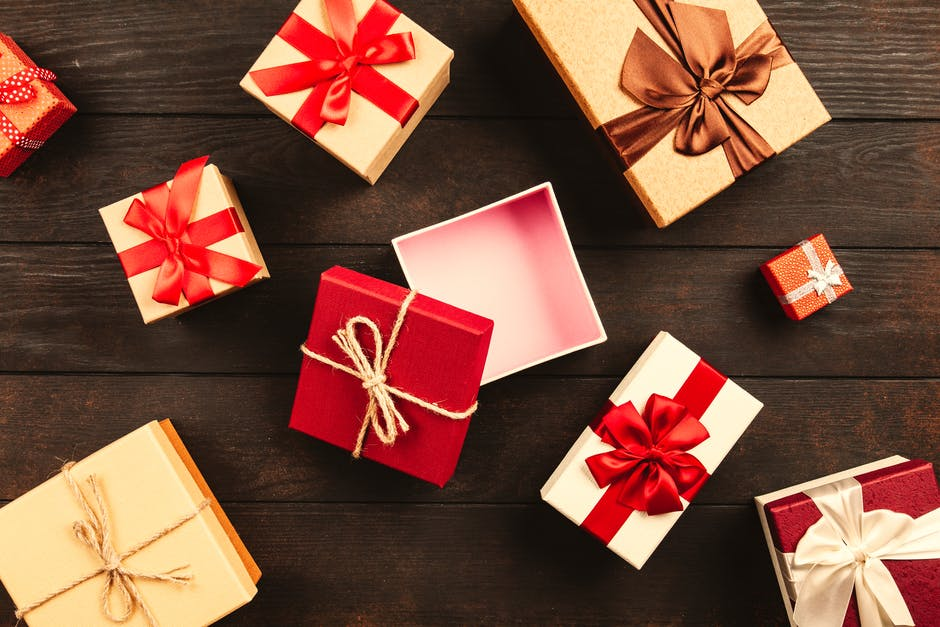 White and red gift boxes