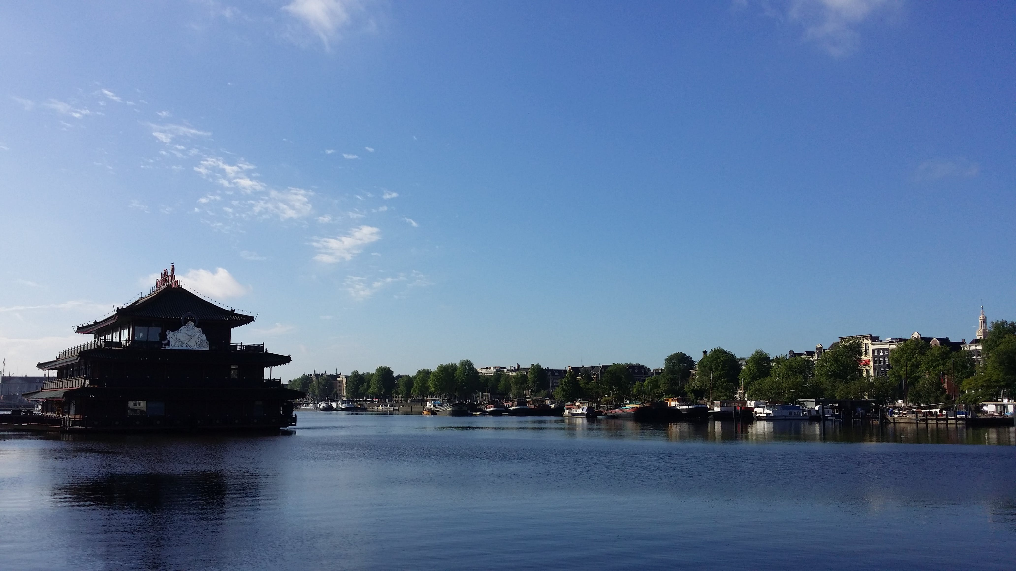 Free stock photo of amsterdam, blue sky, canal, chinese food