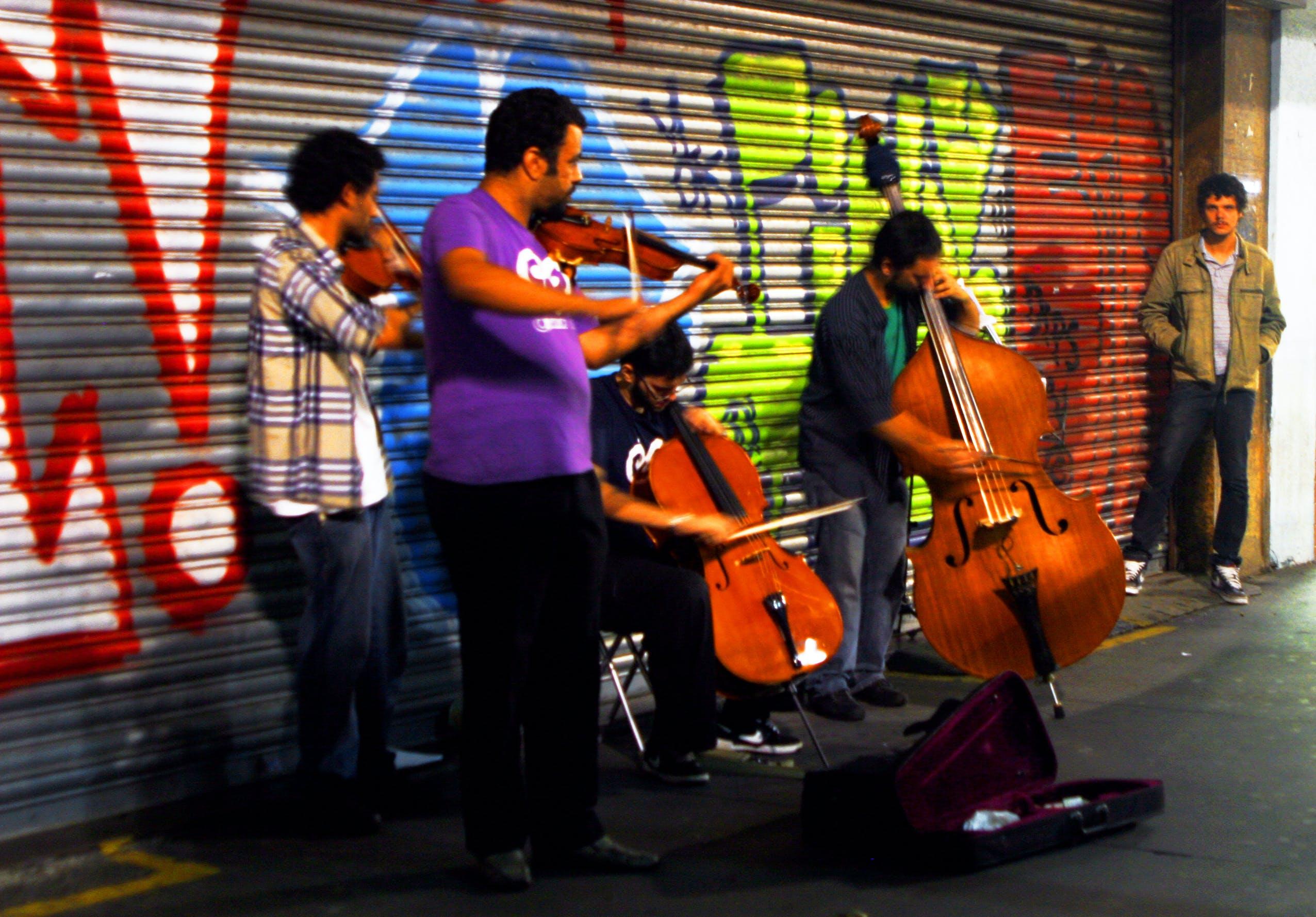 Free stock photo of avenida paulista, brazil, musicians, red