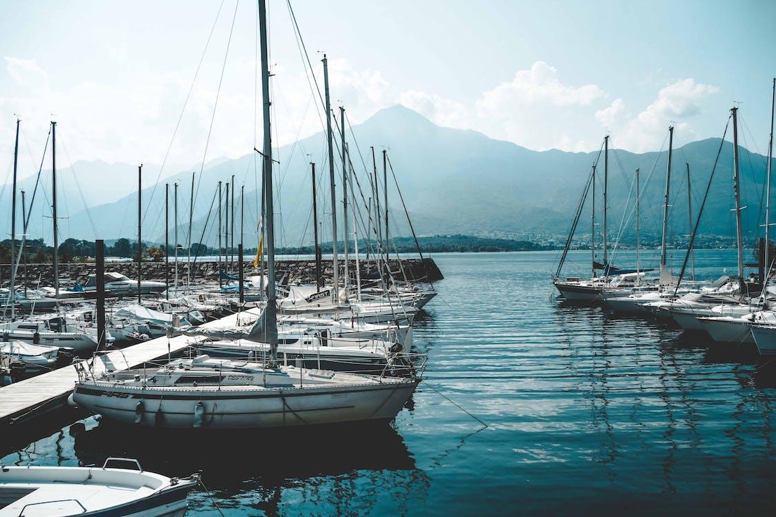 αγκυροβολημένος, ακτή, βάρκες