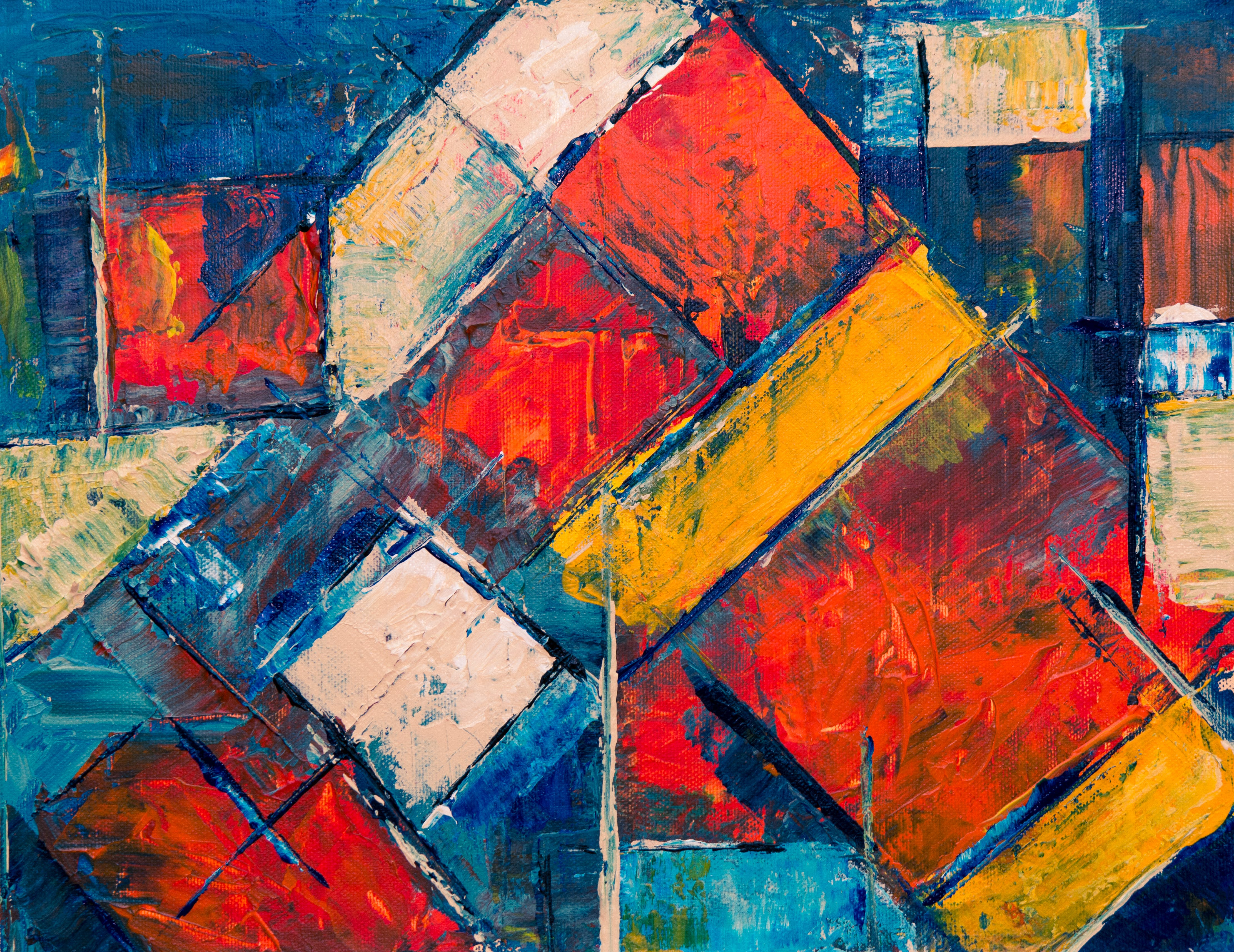 Blue and Multicolored Abstract Painting