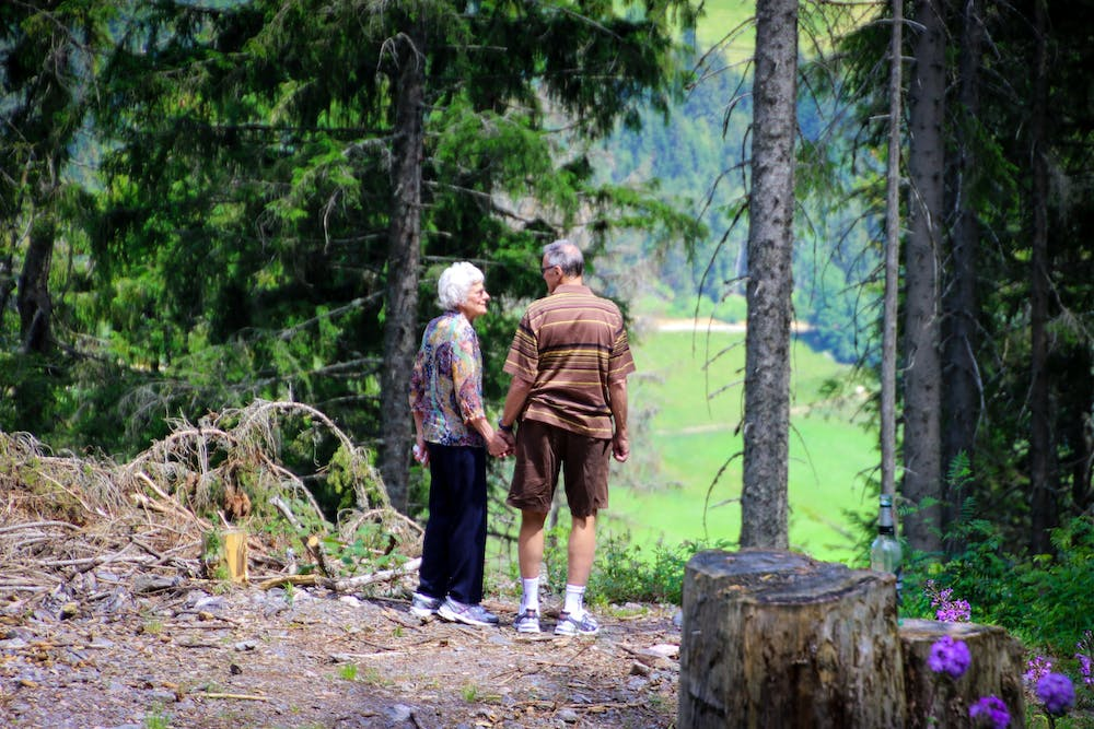 Old couple standing in the forest. | Photo: Pexels