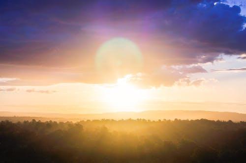 Kostnadsfri bild av horisont, naturfotografering, solflare, solnedgång