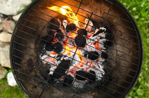 Close-up Photo of Black Metal Charcoal Grill