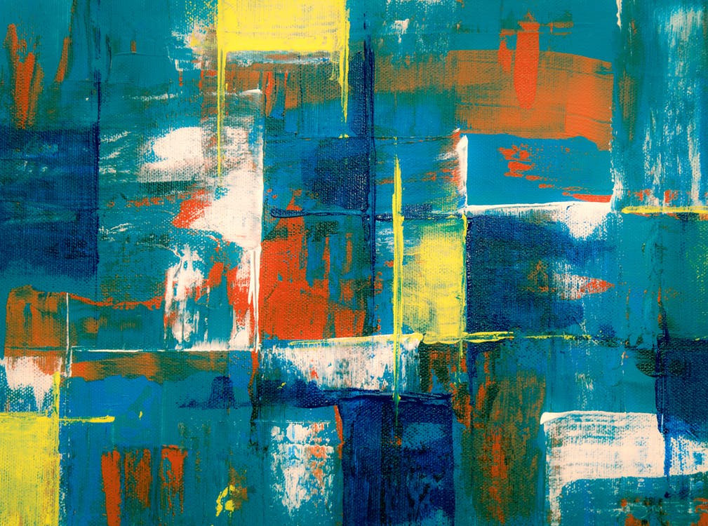 Yellow, White, Orange, and Blue Abstract Painting