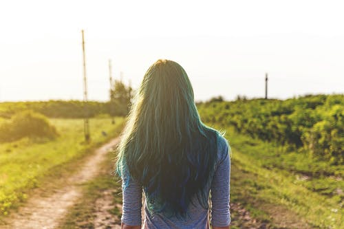 Green Haired Woman Wearing Blue Half-sleeved Shirt