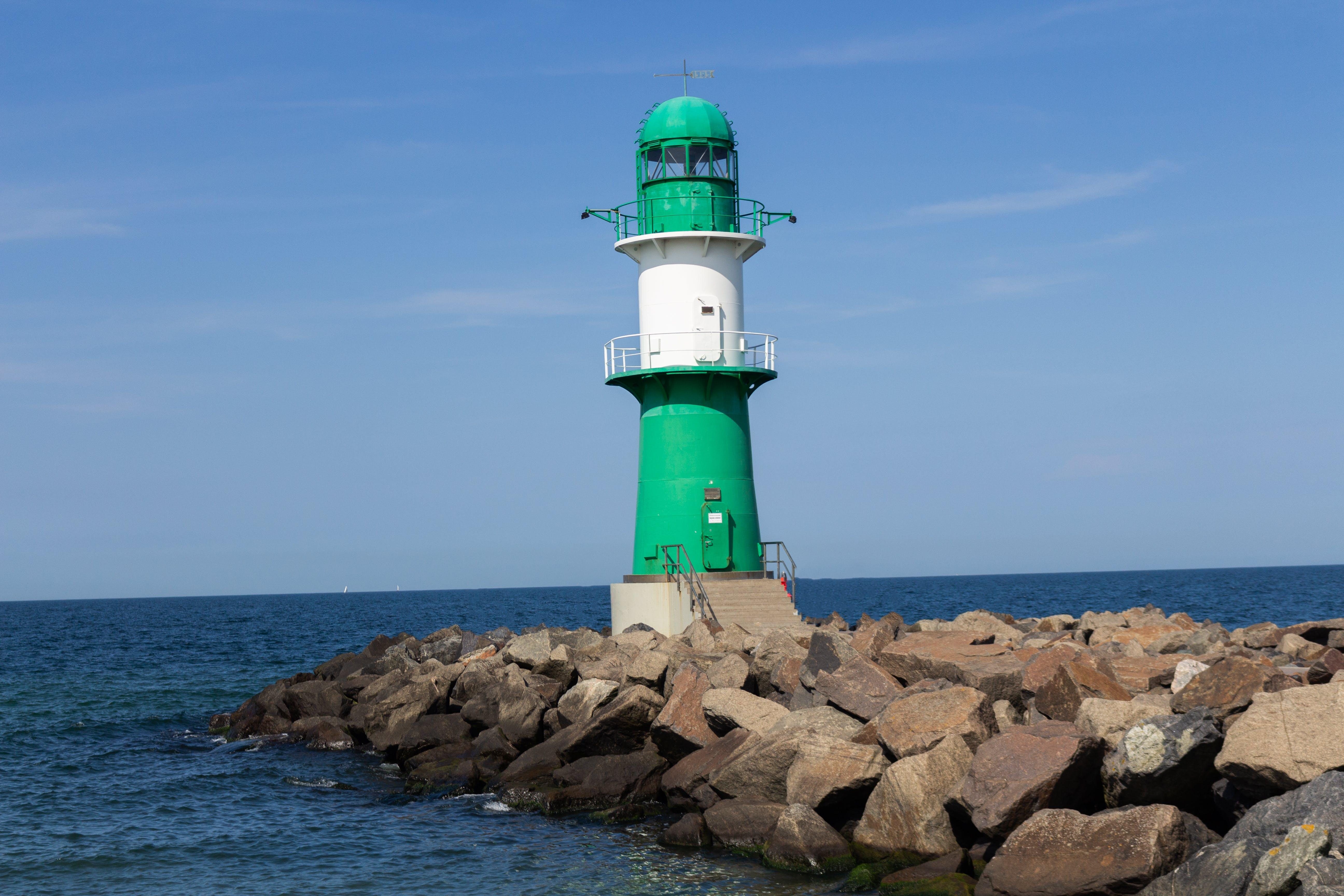 Free stock photo of blue sky, germany, green lighthouse, lighthouse