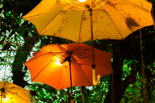 Free stock photo of lights, umbrellas