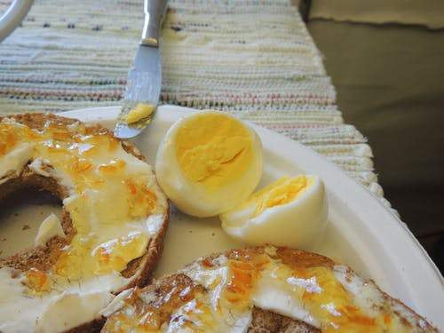 Free stock photo of bagels, hard cooked eggs, healthy diet
