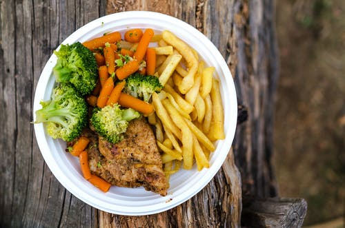 Meat, Broccoli, and Fries Dish