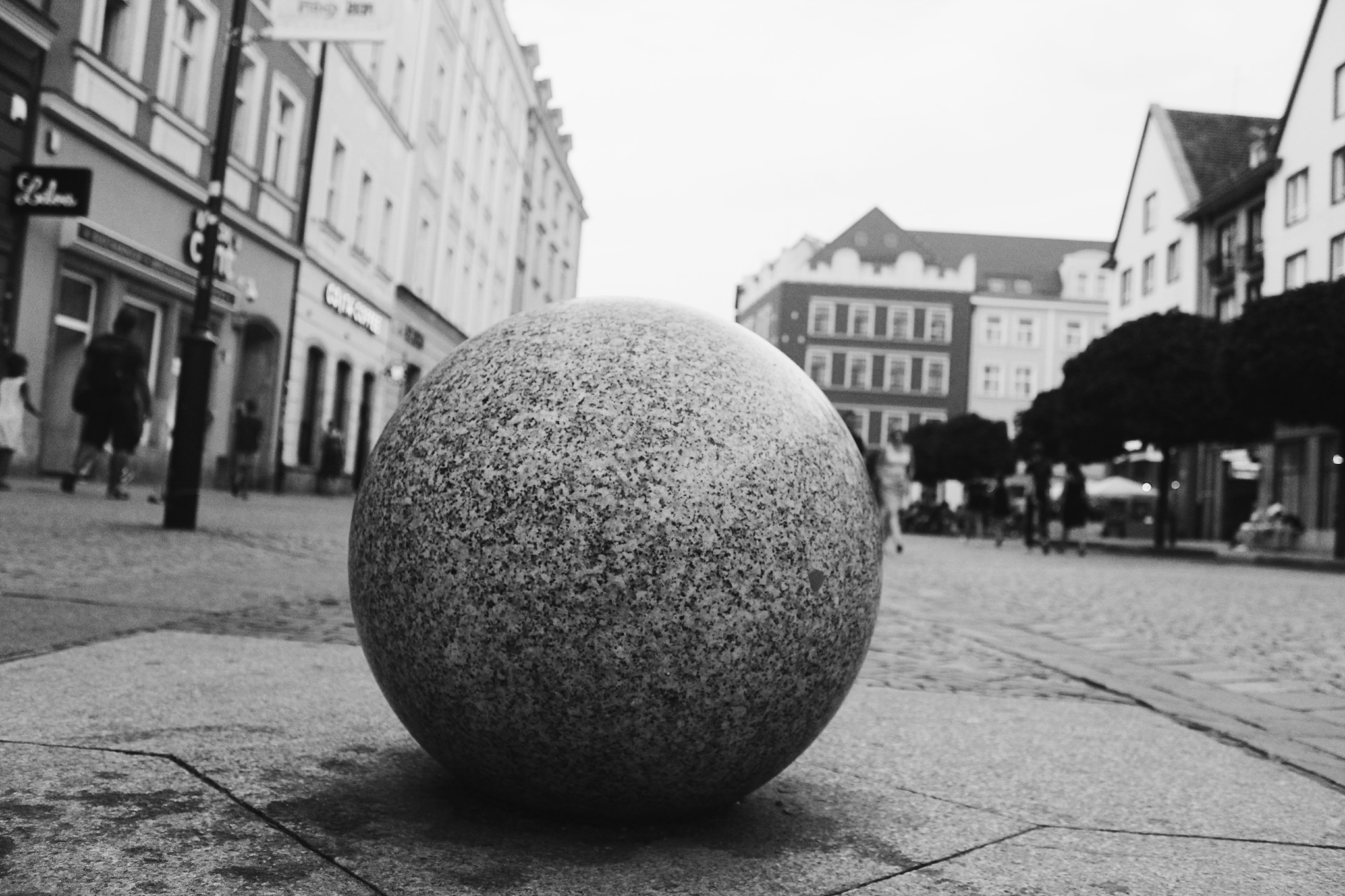 Round Ball In Grayscale Photography